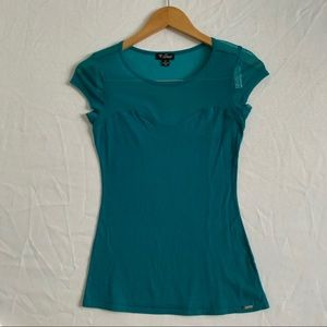 GUESS Turquoise Short Sleeve T-shirt - Size Small